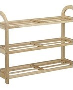 John Lewis Rubberwood Shoe Rack, 3 Tier 231364995